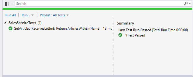 Passing functionality test
