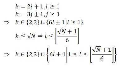 k = {2, 3, ..., 6j+-1}