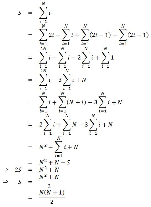 S=N(N+1)/2